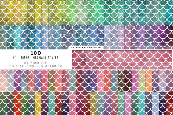 100 Ombre Foil Mermaid Scales Graphic Backgrounds By clipheartcreations