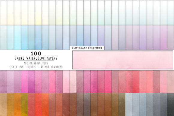 100 Watercolor Ombre Papers Graphic Backgrounds By clipheartcreations