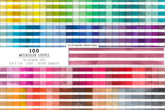 100 Watercolor Stripes Papers Graphic Backgrounds By clipheartcreations