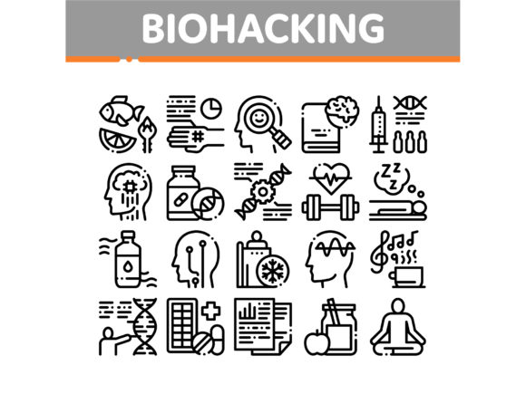 Biohacking Collection Elements Icons Set Graphic Icons By pikepicture
