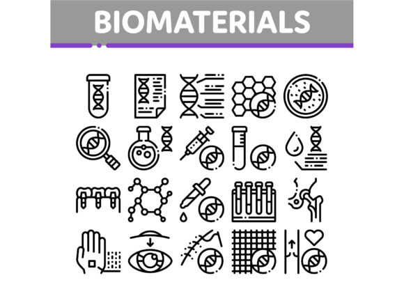 Biomaterials Collection Elements Vector Graphic Icons By pikepicture