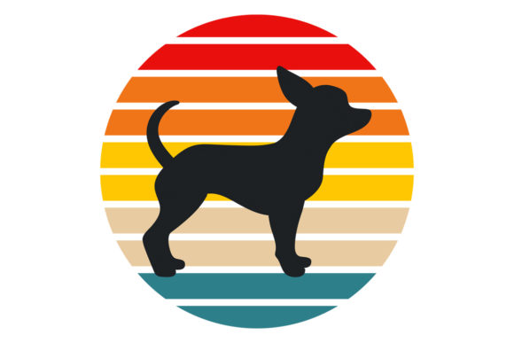Print on Demand: Chihuahua Dog Retro Sunset PNG File Graphic Logos By SunandMoon - Image 1