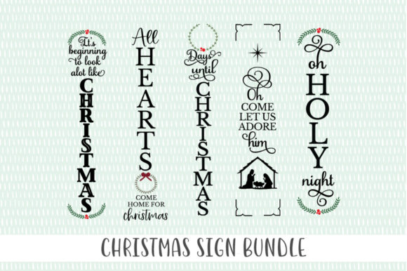 Christmas Front Porch Tall Sign Bundle Graphic Crafts By Simply Cut Co