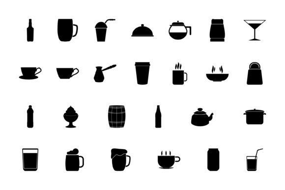 Print on Demand: Container Storing Drinks and Food Set Graphic Icons By magistr0505