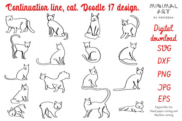 Print on Demand: Continuation Cat Simply One Line Graphic Illustrations By Momixzaa