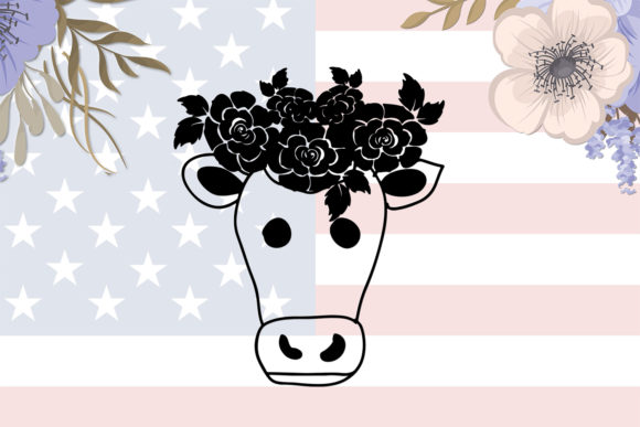 Download Free Cow Flower Printable Digital Svg File Graphic By for Cricut Explore, Silhouette and other cutting machines.
