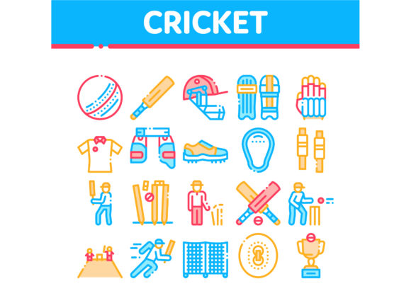 Cricket Game Collection Elements Icons S Graphic Icons By pikepicture