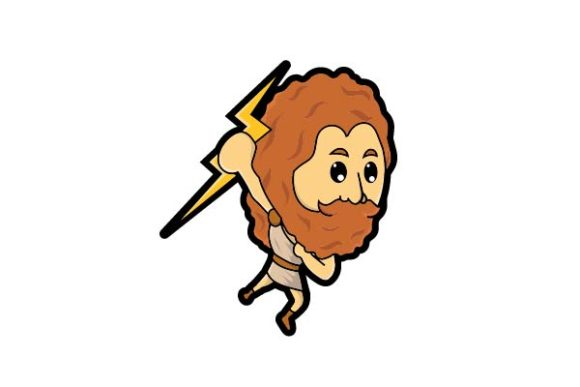 Print on Demand: Cute Zeus Holding a Thunder Graphic Illustrations By firdausm601