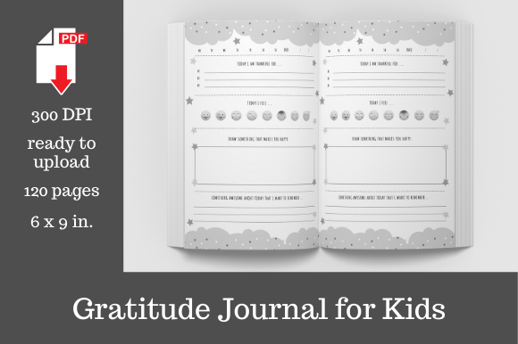 Print on Demand: Daily Gratitude Journal for Kids • 6x9 Graphic KDP Interiors By KDP Template Designs