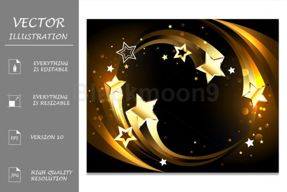 Glowing Background with Golden Comets Graphic Illustrations By Blackmoon9