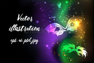 Glowing Background with Masks Mardi Gras Graphic Backgrounds By Blackmoon9