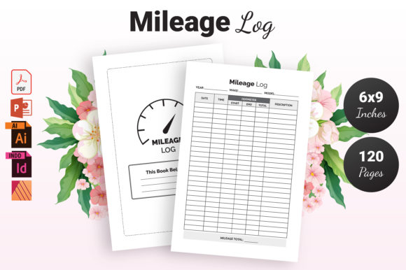 Print on Demand: Mileage Log Book - KDP Interior Graphic KDP Interiors By KDP Ninja