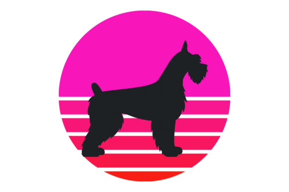 Print on Demand: Riesenschnauzer Pink Retro Sunset  Graphic Logos By SunandMoon