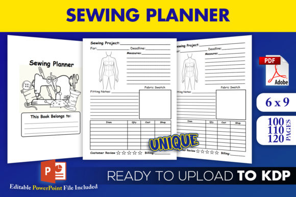Sewing Planner Journal KDP Interior  Graphic KDP Interiors By Beast Designer