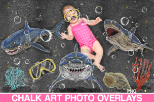 Sidewalk Chalk Art Overlay, Baby Shark Graphic Illustrations By 2SUNS