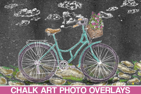 Sidewalk Chalk Art Overlay, Bicycle Graphic Illustrations By 2SUNS
