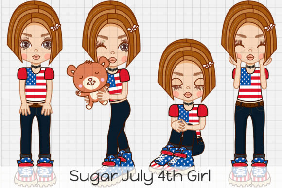 Print on Demand: Sugar July 4th Girl Graphic Illustrations By Dolls To Go