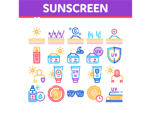 Sunscreen Collection Elements Icons Set Graphic Icons By pikepicture