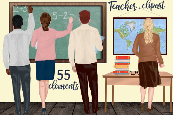 Teachers Back to School Clipart Graphic Illustrations By LeCoqDesign