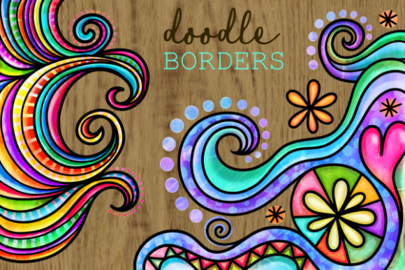 Print on Demand: Watercolor Ink Doodle Decor Page Borders Graphic Backgrounds By Prawny