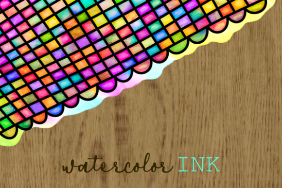 Print on Demand: Watercolor Ink Doodle Decor Page Borders Graphic Backgrounds By Prawny - Image 2