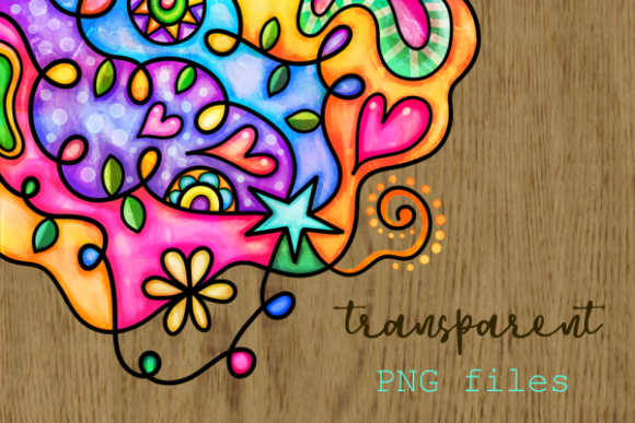 Print on Demand: Watercolor Ink Doodle Decor Page Borders Graphic Backgrounds By Prawny - Image 7