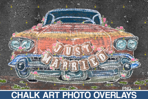 Wedding Chalk Art Overlay, Just Married Graphic Illustrations By 2SUNS