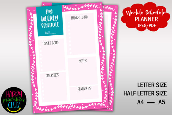 Print on Demand: Weekly Schedule Planner - Printable Graphic Print Templates By Happy Printables Club