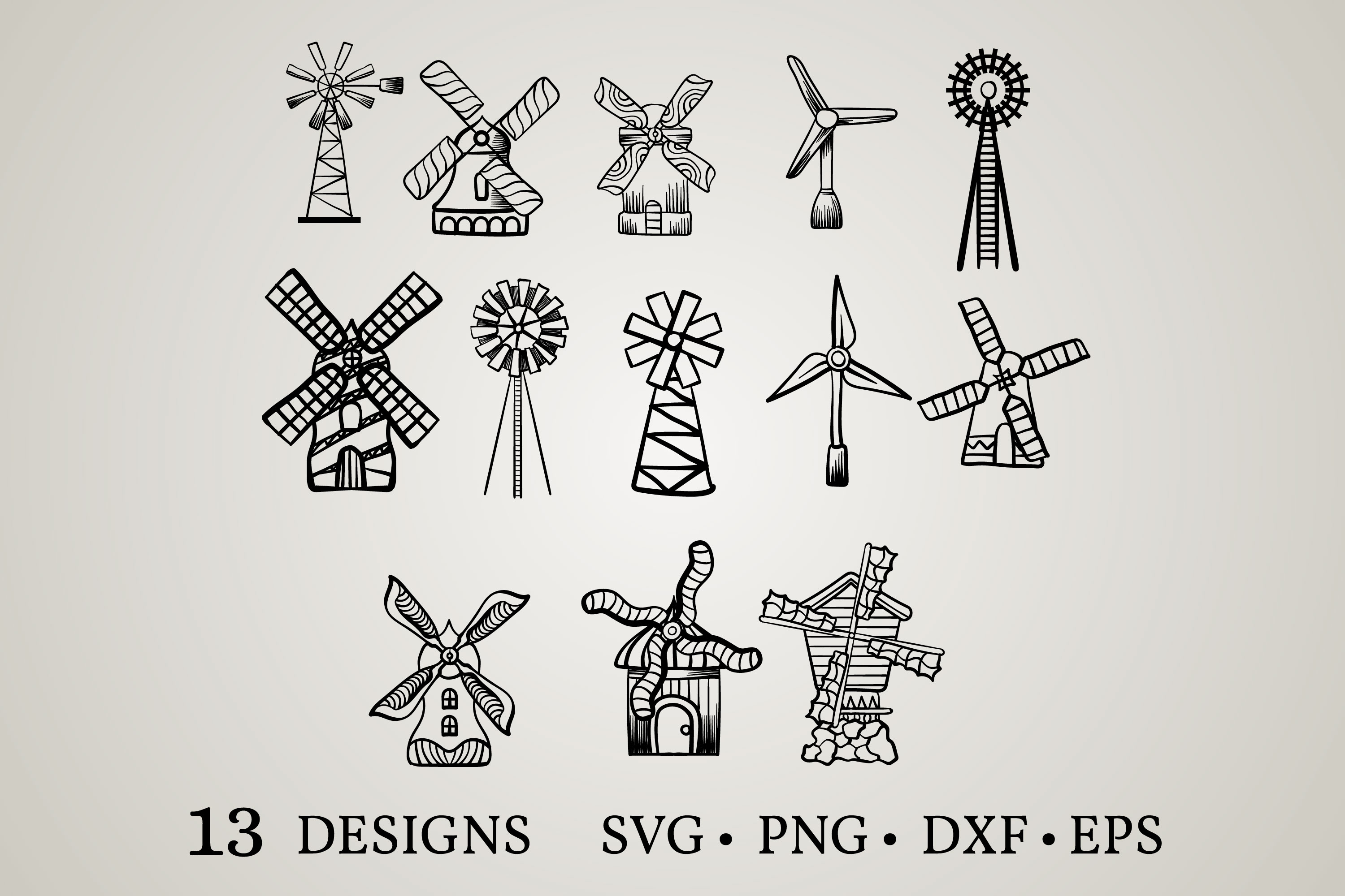 Download Free Windmill Bundle Graphic By Euphoria Design Creative Fabrica for Cricut Explore, Silhouette and other cutting machines.
