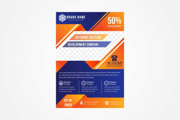 Print on Demand: Blue Orange Software Flyer Vertical Graphic Print Templates By noory.shopper