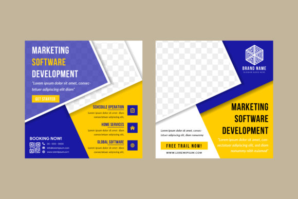 Print on Demand: Marketing Softaware Square Banner Blue Graphic Product Mockups By noory.shopper