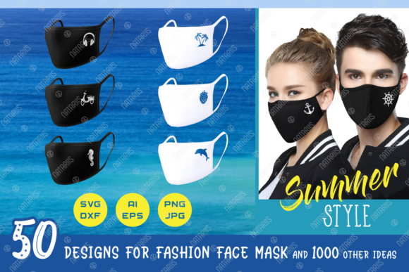 50 Summer Designs for Face Mask Graphic Crafts By Natariis Studio
