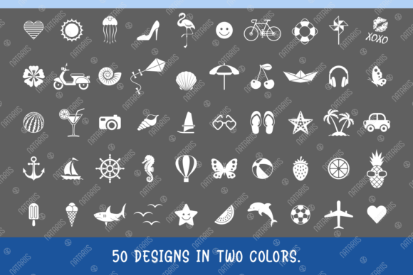50 Summer Designs for Face Mask Graphic Item