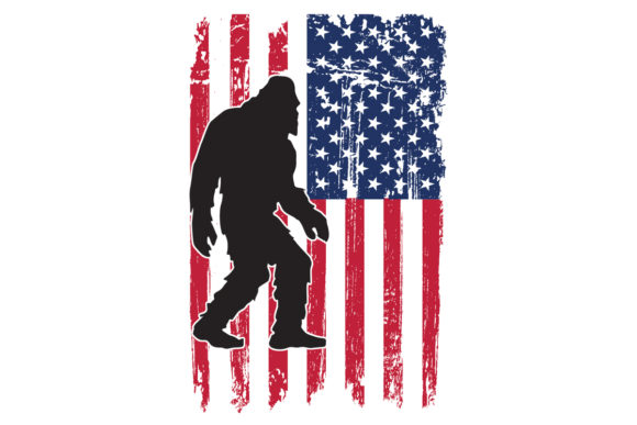 Print on Demand: American Flag Bigfoot Patriotic USA Graphic Logos By SunandMoon