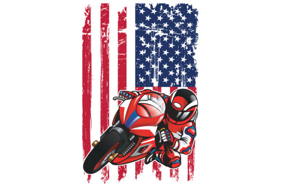 Print on Demand: American Flag Sports Bike PNG Motorcycle Graphic Logos By SunandMoon