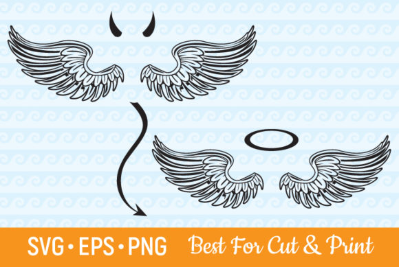 Angel Wings Devil Wings Feather Halo Graphic Crafts By OlimpDesign