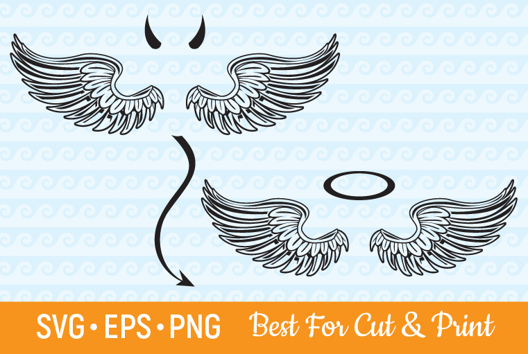 Angel Wings Devil Wings Feather Halo SVG File