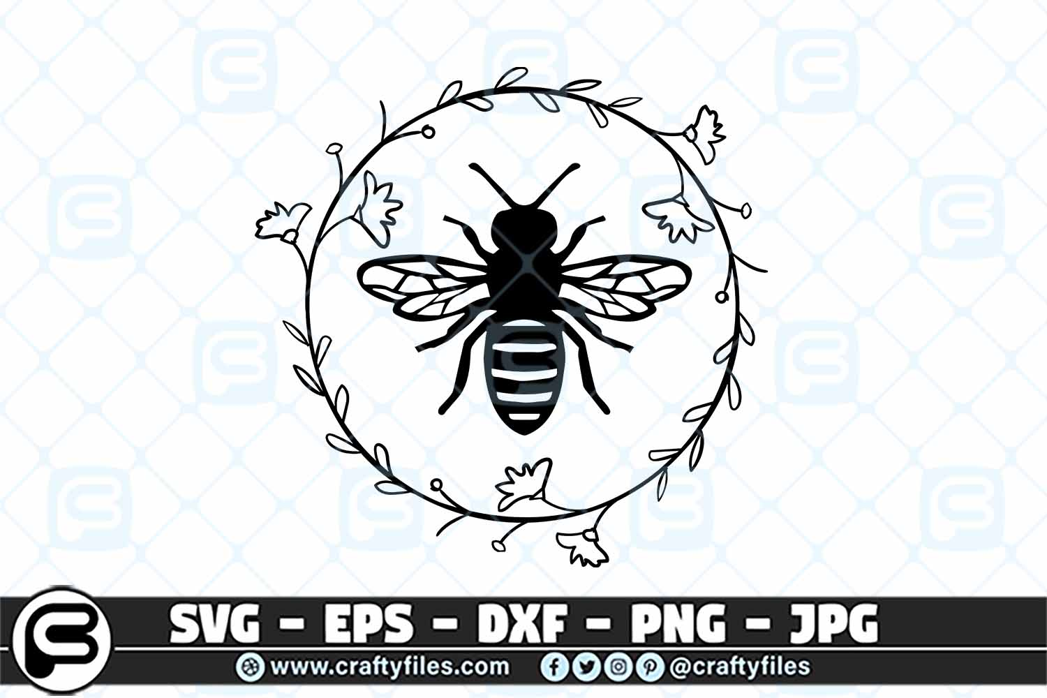 Download Free Bee Arounded Graphic By Crafty Files Creative Fabrica for Cricut Explore, Silhouette and other cutting machines.