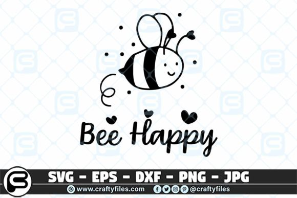 Print on Demand: Bee Happy Cute Bee Insect Gráfico Crafts Por Crafty Files
