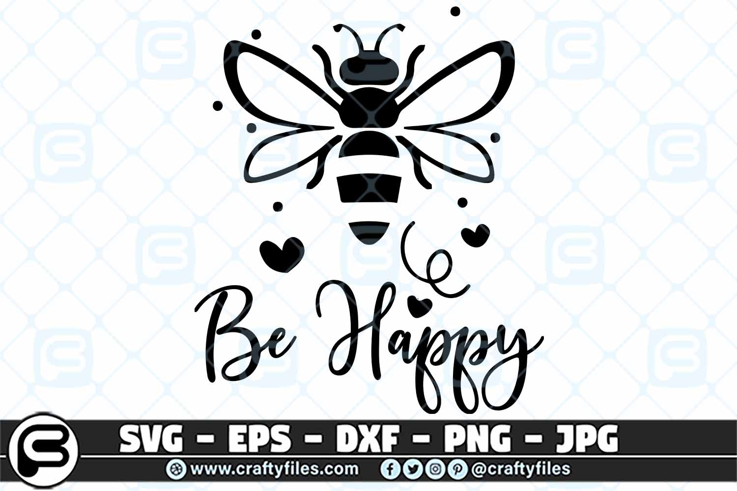 Download Free Bee Happy Cute Bee Insect Svg Graphic By Crafty Files Creative for Cricut Explore, Silhouette and other cutting machines.