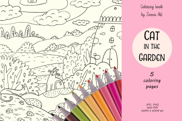 - Cat In The Garden - Coloring Book (Graphic) By Zooza Art · Creative Fabrica