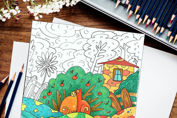 Print on Demand: Cat in the Garden - Coloring Book Graphic Coloring Pages & Books Kids By Zooza Art - Image 3