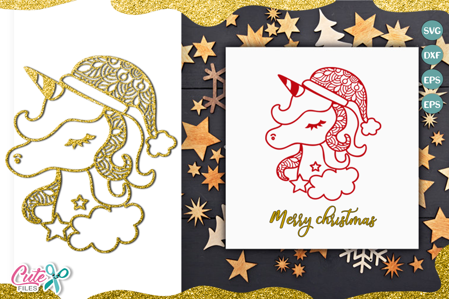 Download Free Christmas Unicorn Face With Mandala Svg Graphic By Cute Files for Cricut Explore, Silhouette and other cutting machines.