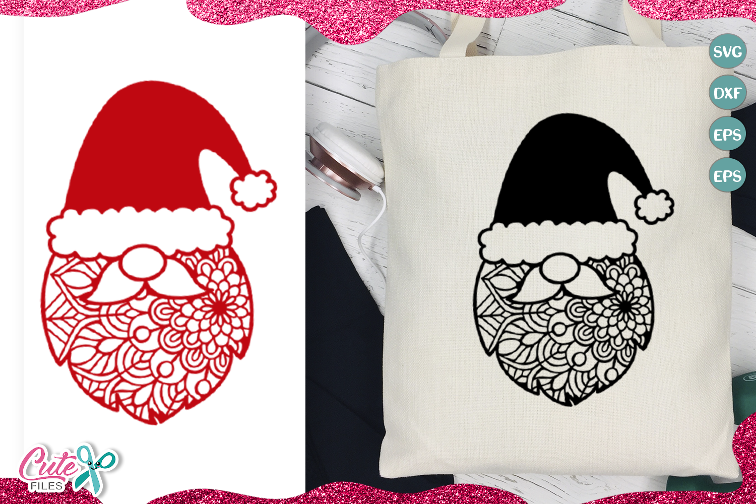 Download Free Christmas Santa Face With Mandala Svg Graphic By Cute Files for Cricut Explore, Silhouette and other cutting machines.