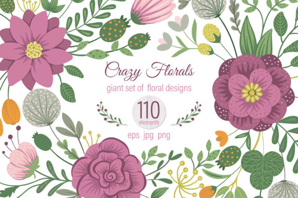 Crazy Florals Graphic Illustrations By lexiclaus