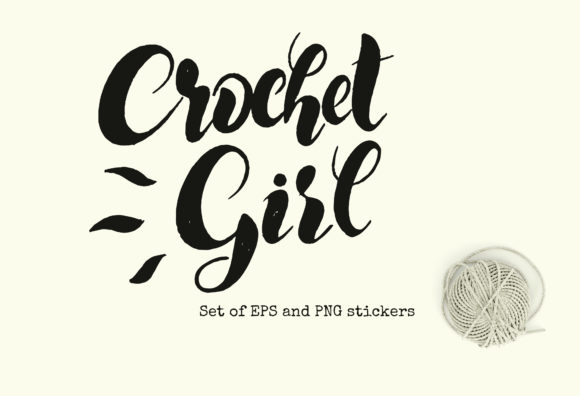 Crochet Girl Set of Stickers  Graphic Illustrations By shalaeva