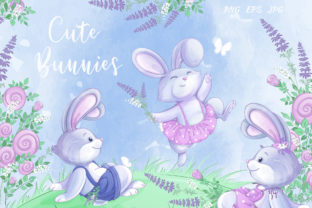 Cute Bunnies and Flowers Graphic Illustrations By Maycat