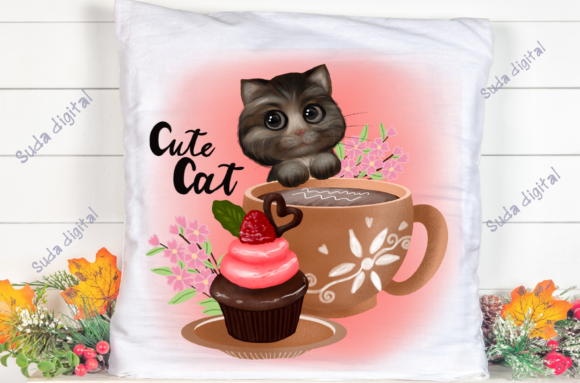 Print on Demand: Cute Cat Sublimation Graphic Illustrations By Suda Digital Art