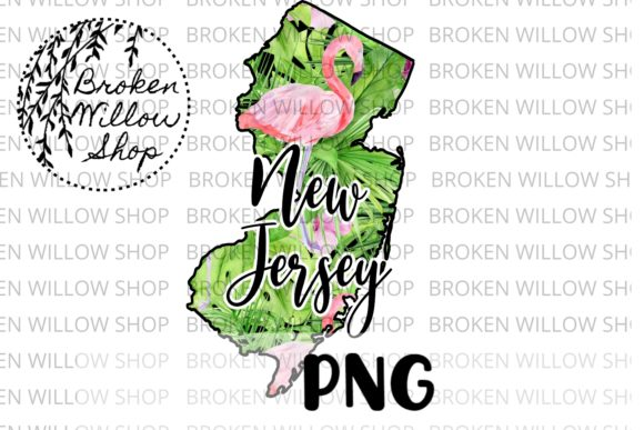 Hand Drawn New Jersey State Graphic Crafts By Broken Willow Shop