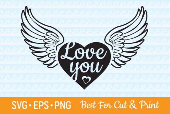 Download Free I Love You Heart With Wings Graphic By Olimpdesign Creative for Cricut Explore, Silhouette and other cutting machines.